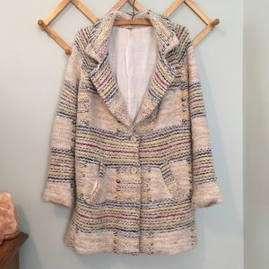 Free People Wool Blend Knit Rainbow Peacoat